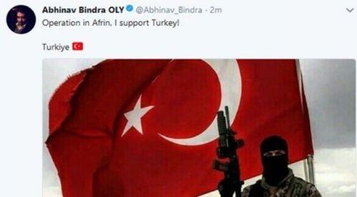 Abhinav Bindra's Twitter account was hacked.