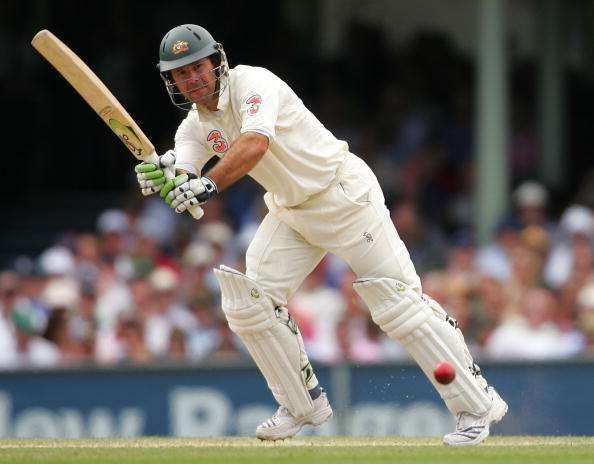Ricky Ponting works the ball on the leg side