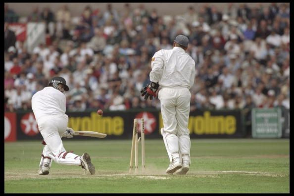 Wasim Akram of Pakistan is Bowled by Robert Croft of England