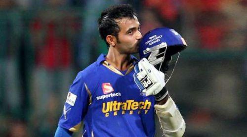Ajinkya Rahane celebrates a century in the IPL