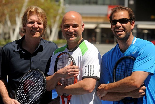 (L - R) Jim Courier, Pete Sampras, Andre Agassi