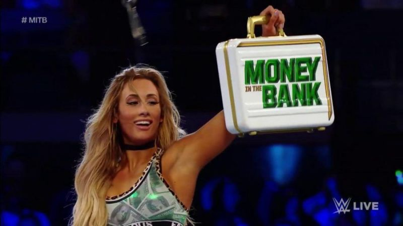 Carmella with the Money In The Bank briefcase