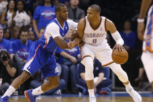 On this night, Russ got the best of Chris Paul in one of their many battles.