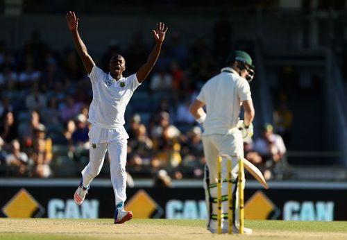 Rabada sending off the Australian captain Steven Smith after dismissing him in the first innings at Port Elizabeth