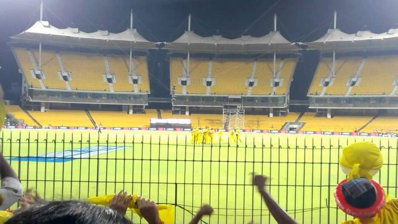 The empty stands G, H and I of Chepauk Stadium, Chennai