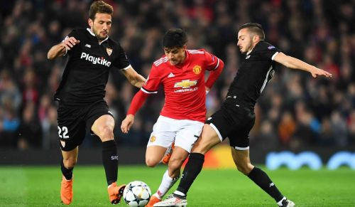 Alexis was tightly marked by the Sevilla players all through the game