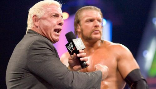 Ric Flair during a promo, with the Game, Triple H
