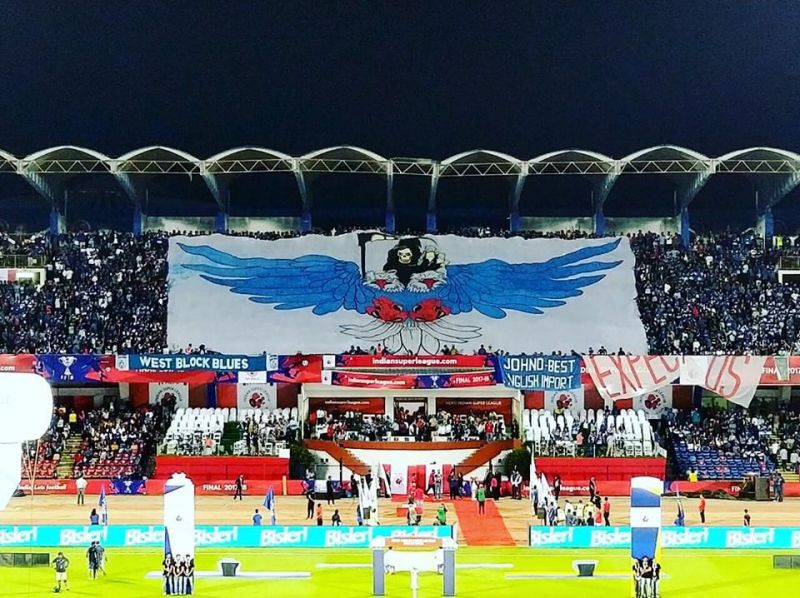 West Block Blues unveil their banner ahead of the ISL final