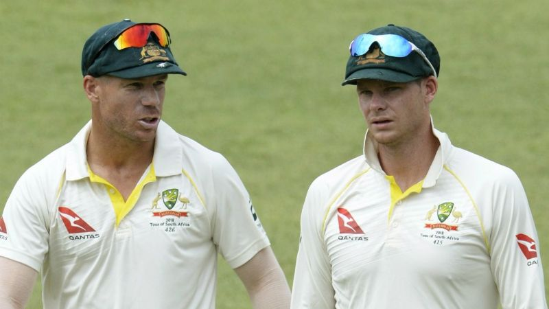 Right to left: Suspended vice-captain David Warner and captain Steve Smith