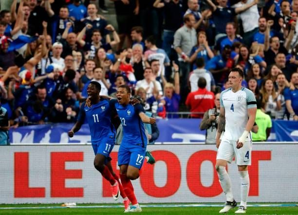 France's Kylian Mbappe and Ousmane Dembele in action against England in 2017