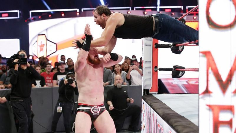 Sheamus of the Bar faced Dean Ambrose during a Title Match