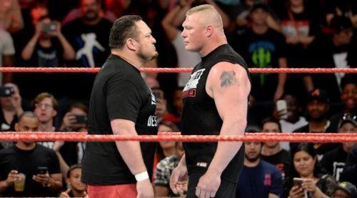 Samoa Joe face-to-face with Brock Lesnar