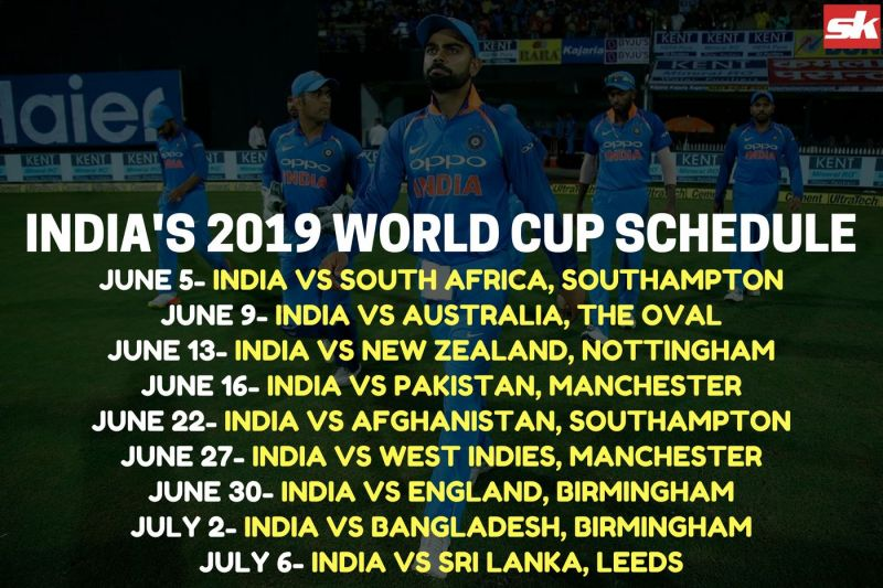 Icc Champions Trophy 2019 Schedule Time Table World Cup 2019 Schedule and Time Table with Schedule Pic   Sportskeeda