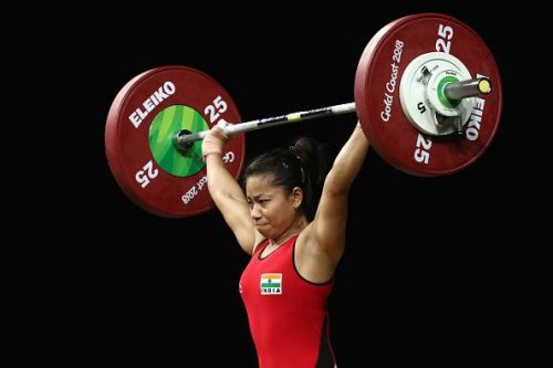 A determined looking Sanjita in action at the Carrara Sports Arena 1 at the Gold Coast en route to winning the Gold.