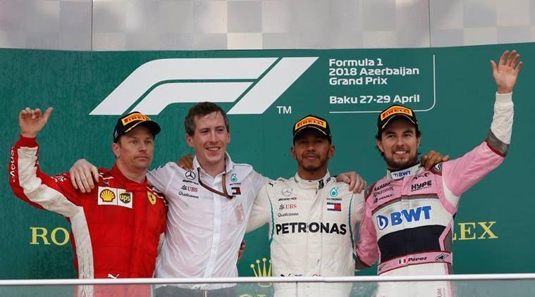 The 2018 Baku GP podium