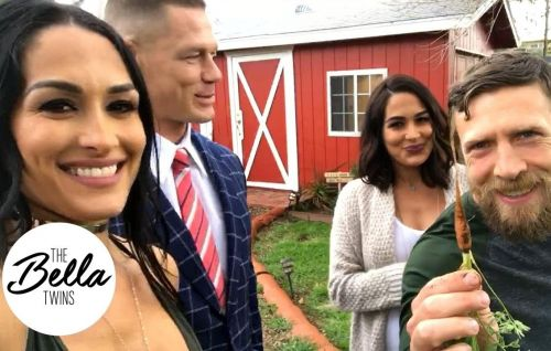 Brie Bella (second from right) spoke in detail about helping Nikki Bella & John Cena through their breakup