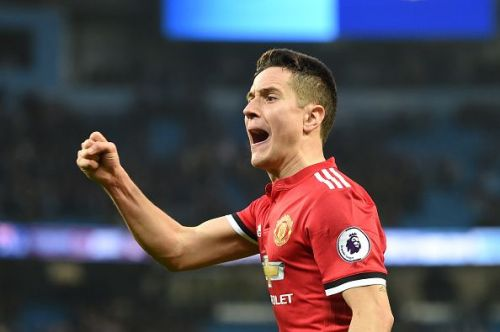 Herrera celebrates after helping United complete a remarkable comeback against City