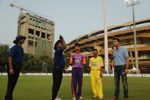 Captains of Sanskar and DAV during the toss before their match