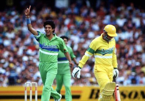 Sport. Cricket. World One-Day Series. Melbourne. January 1990. Australia v Pakistan. Pakistan's Wasim Akram celebrates after taking the wicket of Australia's Geoff Marsh.