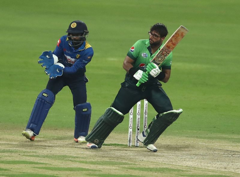Imam-ul-Haq bats during the third One Day International match between Pakistan and Sri Lanka at Zayed Cricket Stadium on October 18, 2017, in Abu Dhabi, UAE.