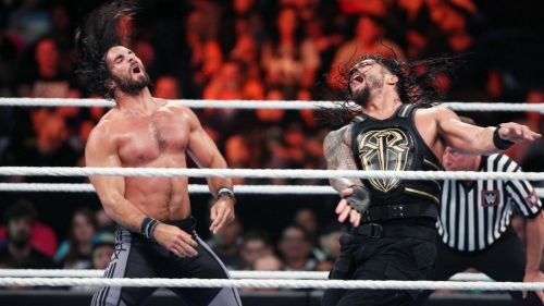 Roman Reigns and Seth Rollins mix it up in the ring