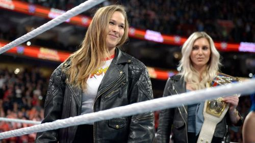 Image result for vince mcmahon ronda rousey and charlotte