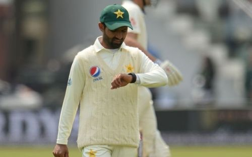 Asad Shafiq using his smartwatch during the first Test
