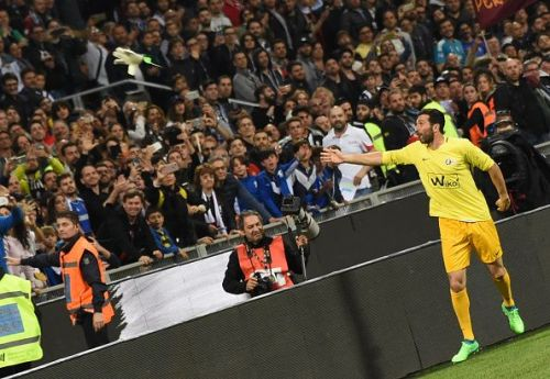 Gianluigi Buffon throw his  gloves to supporters during the...