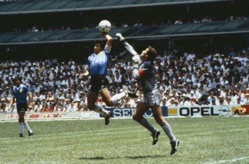 BT Sport. Football. 1986 Football World Cup, Mexico. Quarter Final, Argentina 2 v England 1. 22nd June, 1986. Argentina's Diego Maradona scores 1st goal with his Hand of God, past England goalkeeper Peter Shilton.