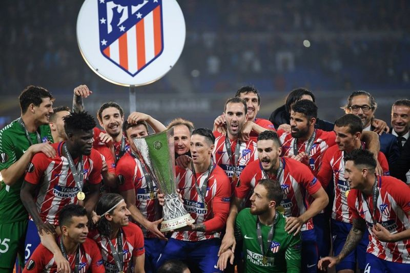Atletico Madrid celebrate their resounding victoy in the Europa League final