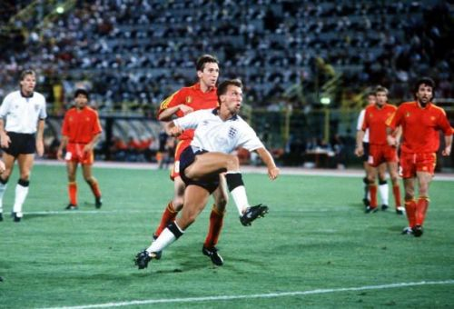 1990 World Cup Finals. Second Phase. Bologna, Italy. 26th June, 1990. England 1 v Belgium 0 (after extra time). England's David Platt volleys home his dramatic winning goal in the last minute of extra time.