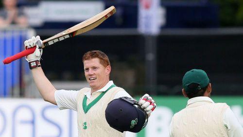 Ireland's Kevin O'Brien celebrates his century against Pakistan