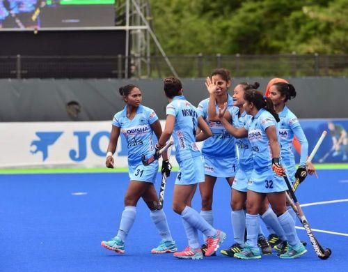 India women's Hockey team celebrate a goal