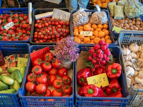 Fresh fruit and vegetables at the Lagos Farmer's Market,...
