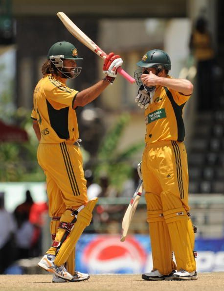 Australian cricketer Andrew Symonds (L)