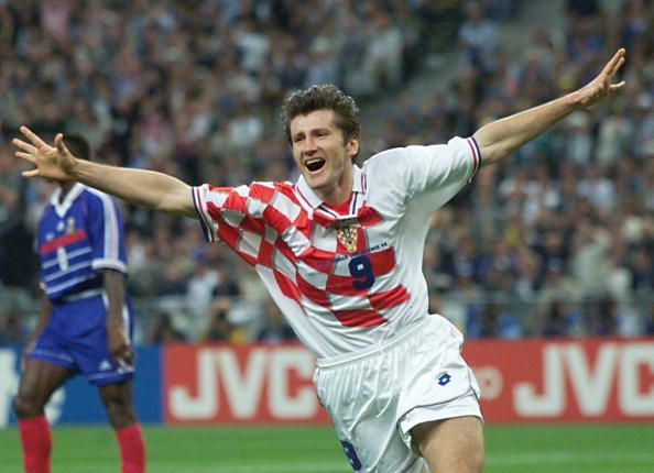Croatian forward Davor Suker jubilates after scori