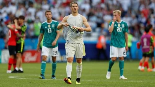 A dejected looking Neuer after the defeat against South Korea