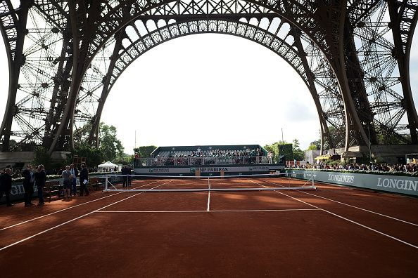 The tennis court set up under the Eiffel Tower to host the finals of the Longines Future Tennis Aces tournament