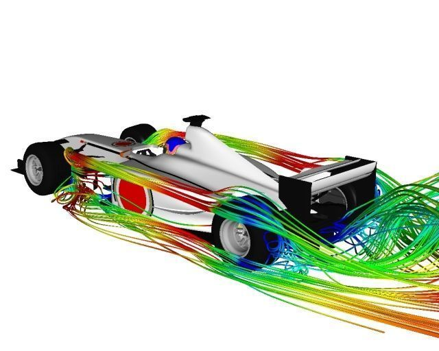 CFD simulation predicting the airflow in a F1 car design