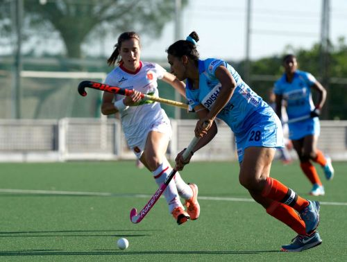 Rani Rampal in action during second match against Spain
