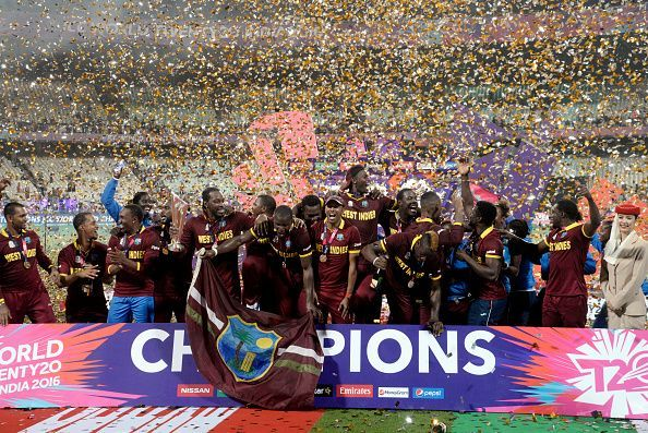 West indies team  celebrates for winning  during ICC World...