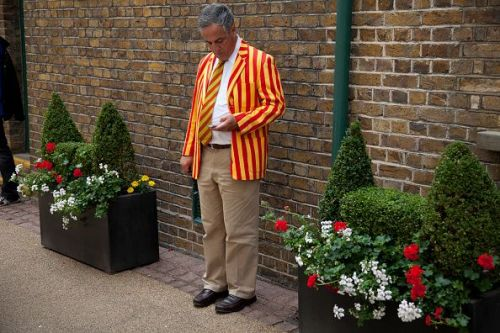 UK - London - Man at Lords Cricket Ground in MCC coloured blazer and tie