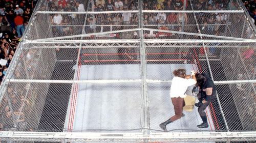 Mick Foley was thrown from the top of the cell by the Undertaker
