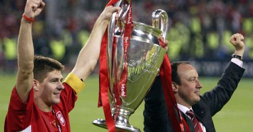 Benitez and Captain Steven Gerrard lifting the Champions League trophy after the 'Istanbul Miracle'