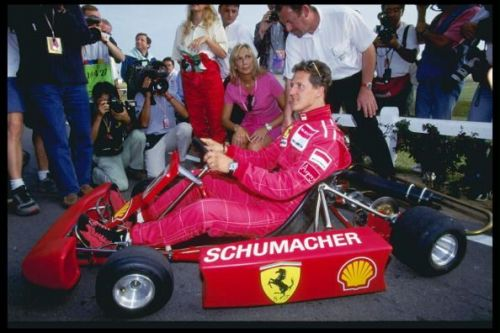 Michael Schumacher of Germany relaxes with a spot of go-karting
