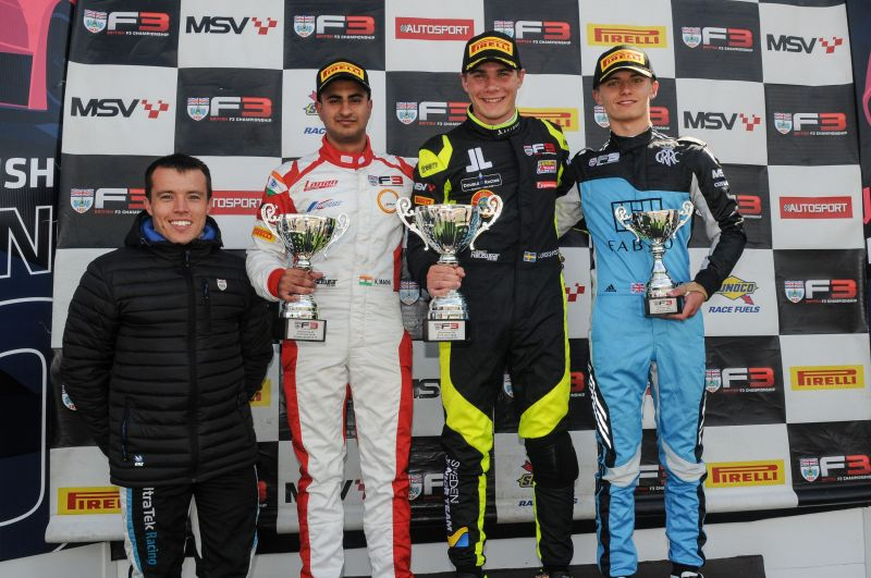 Kush Maini on the podium after Race 1 at Silverstone