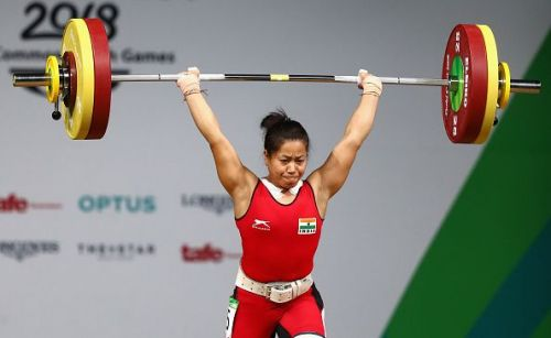 Sanjita Chanu in action at the 2018 Commonwealth Games