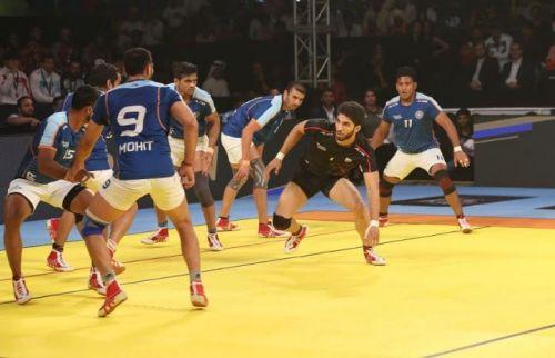 Iran captain Amirhossein Mohammad Maleki in action against India in the Kabaddi Masters final.