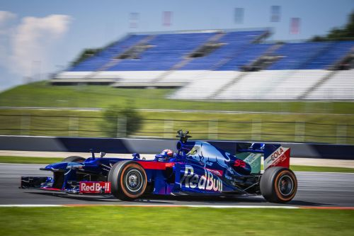 Marc Marquez in action in the Toro Rosso F1 car
