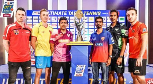 João Monteiro  - Captain of Maharashtra United (Extreme left), gets clicked with the other captains during the trophy unveil (Image Credits - UTT)